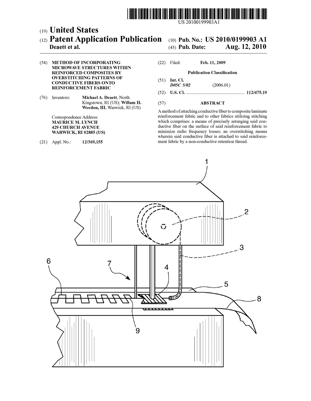 Method of Incorporating Microwave Structures within Reinforced Composites by Overstitching Patterns of Conductive Fibers onto Reinforcement Fabric - diagram, schematic, and image 01