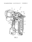 Combustion powered nail gun having safety mechanism diagram and image
