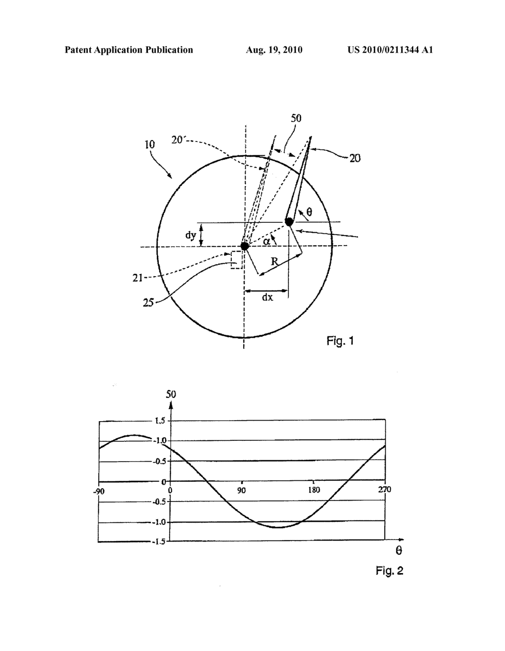 Method for calibrating and/or correcting a display device having a needle, the needle being able to move in rotation about an axis of rotation - diagram, schematic, and image 02