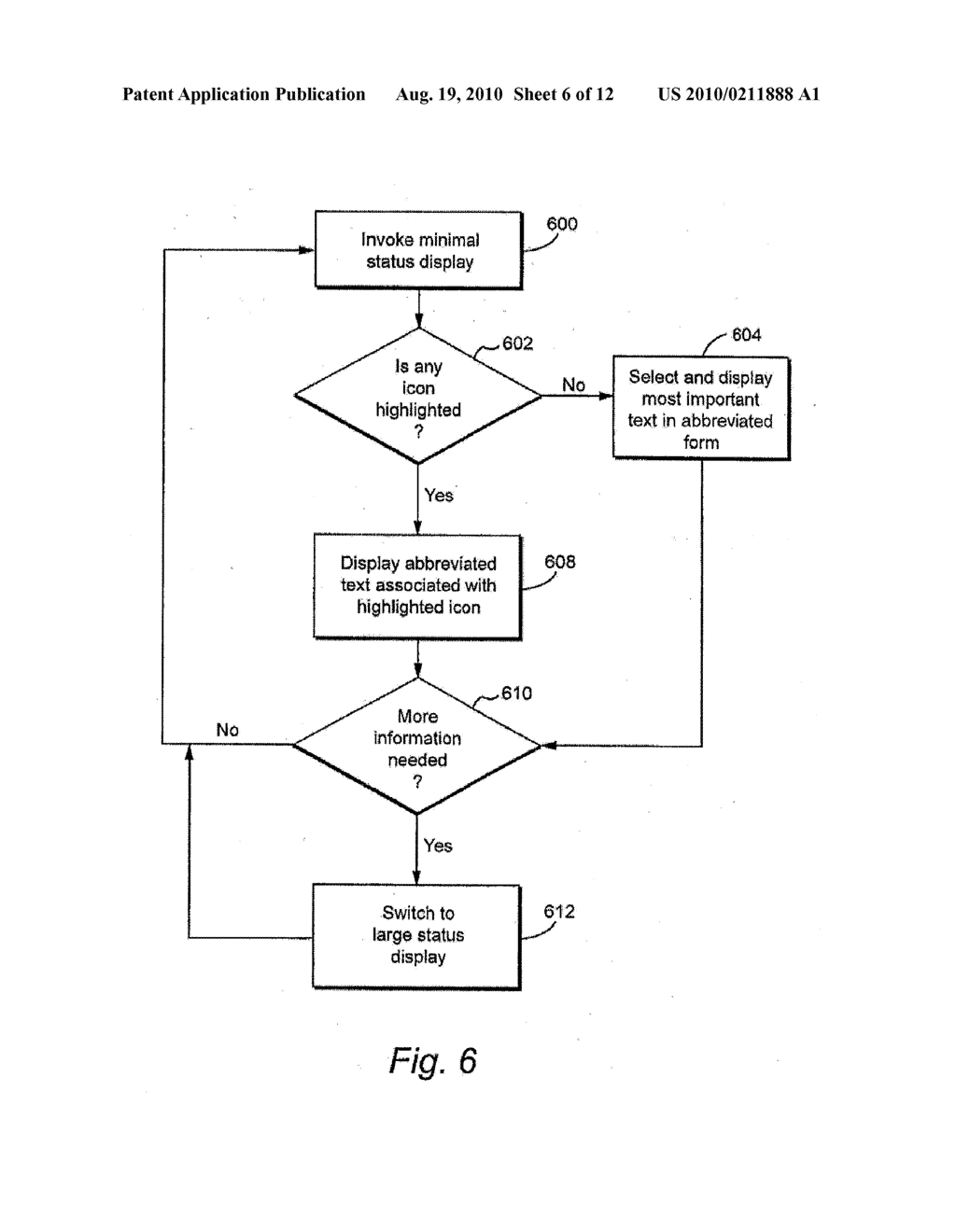 METHOD AND APPARATUS FOR PROVIDING MINIMAL STATUS DISPLAY - diagram, schematic, and image 07
