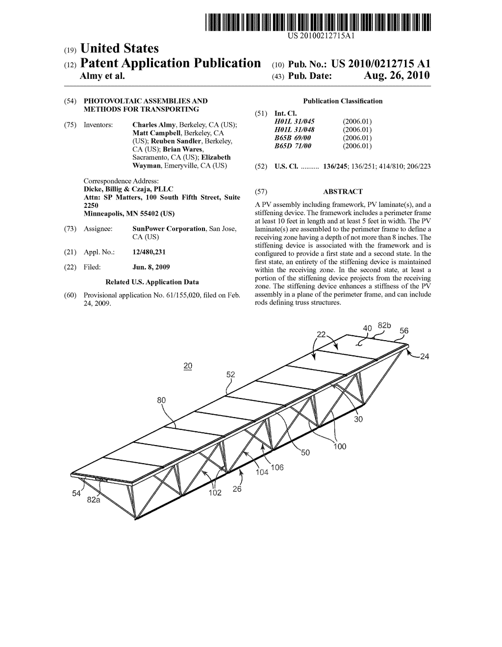 PHOTOVOLTAIC ASSEMBLIES AND METHODS FOR TRANSPORTING - diagram, schematic, and image 01