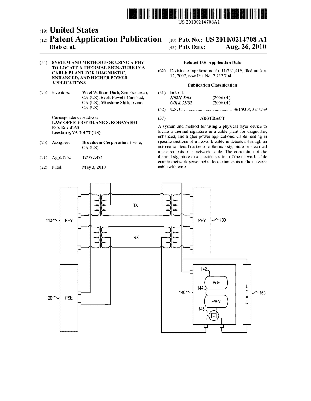 System and Method for Using a PHY to Locate a Thermal Signature in a Cable Plant for Diagnostic, Enhanced, and Higher Power Applications - diagram, schematic, and image 01