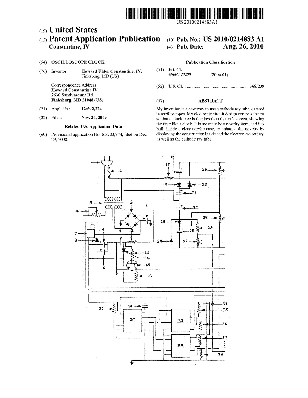 Oscilloscope Clock - diagram, schematic, and image 01