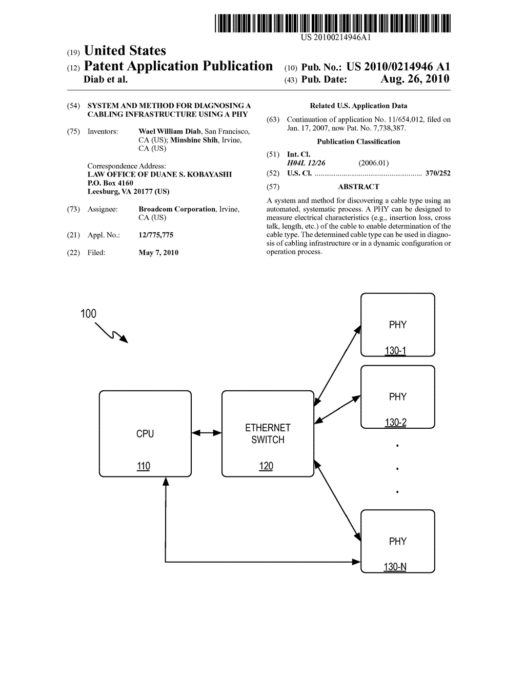 System and Method for Diagnosing a Cabling Infrastructure Using a PHY - diagram, schematic, and image 01