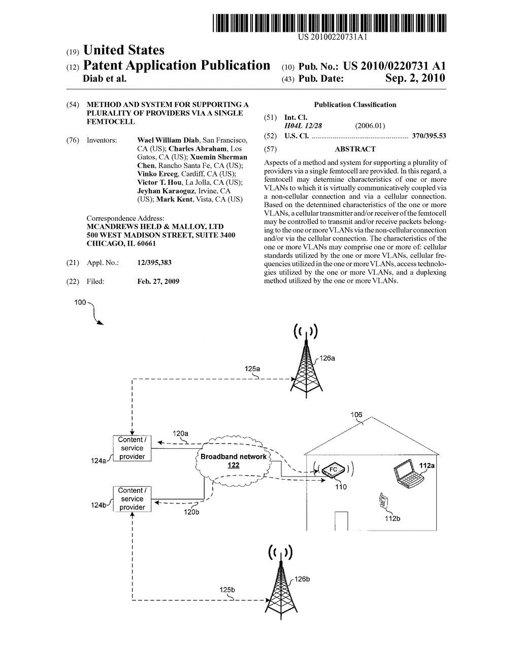 METHOD AND SYSTEM FOR SUPPORTING A PLURALITY OF PROVIDERS VIA A SINGLE FEMTOCELL - diagram, schematic, and image 01
