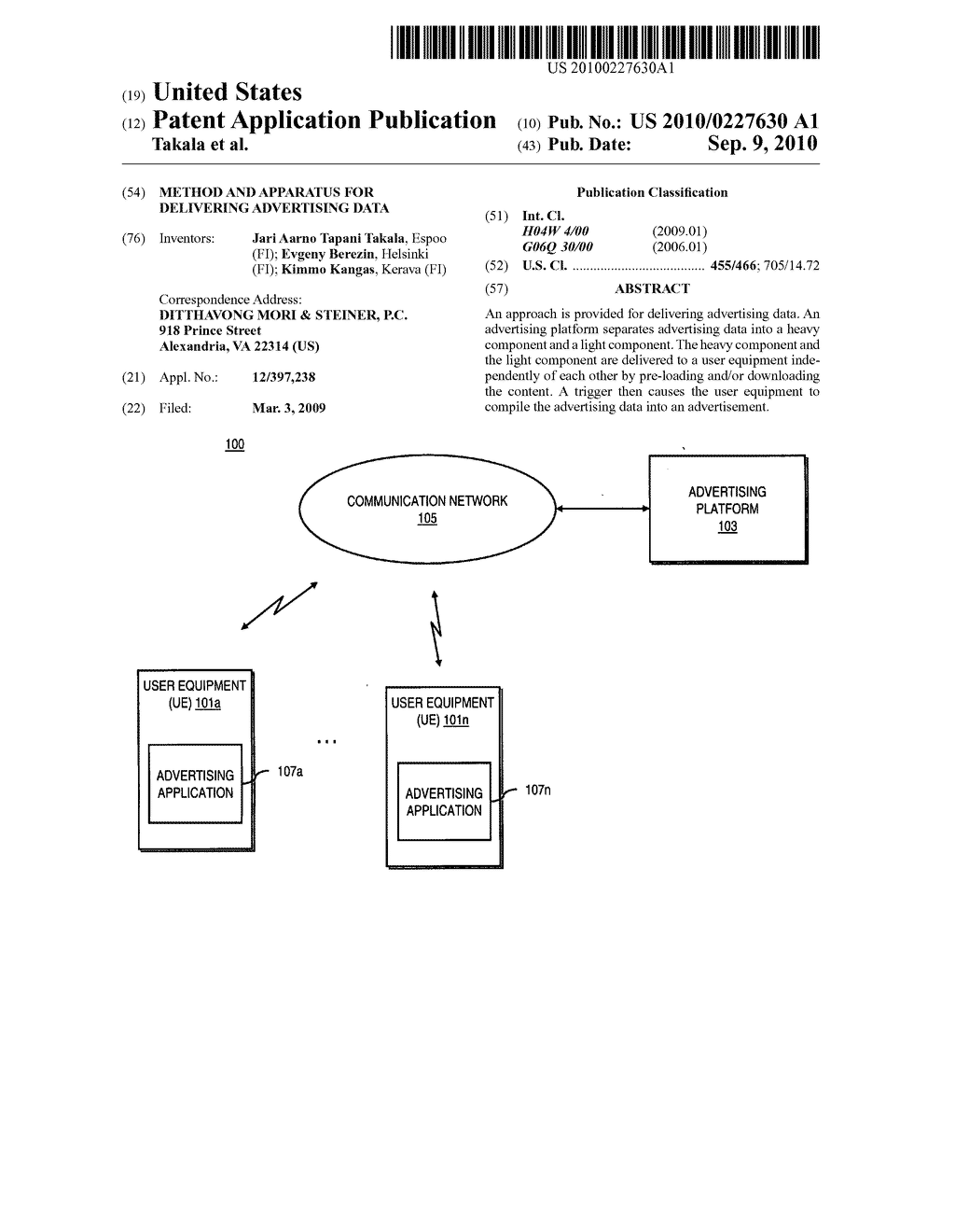 METHOD AND APPARATUS FOR DELIVERING ADVERTISING DATA - diagram, schematic, and image 01