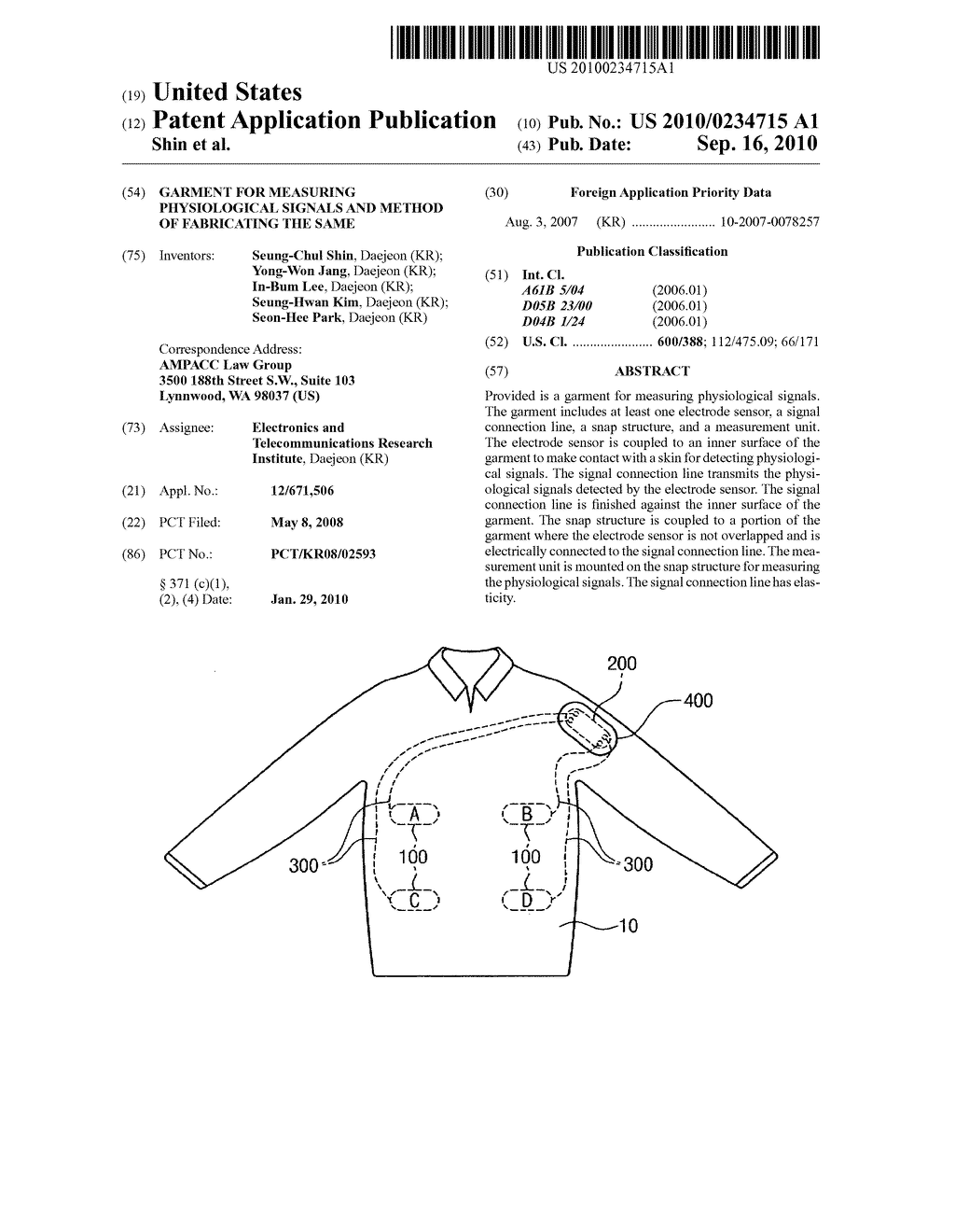 GARMENT FOR MEASURING PHYSIOLOGICAL SIGNALS AND METHOD OF FABRICATING THE SAME - diagram, schematic, and image 01
