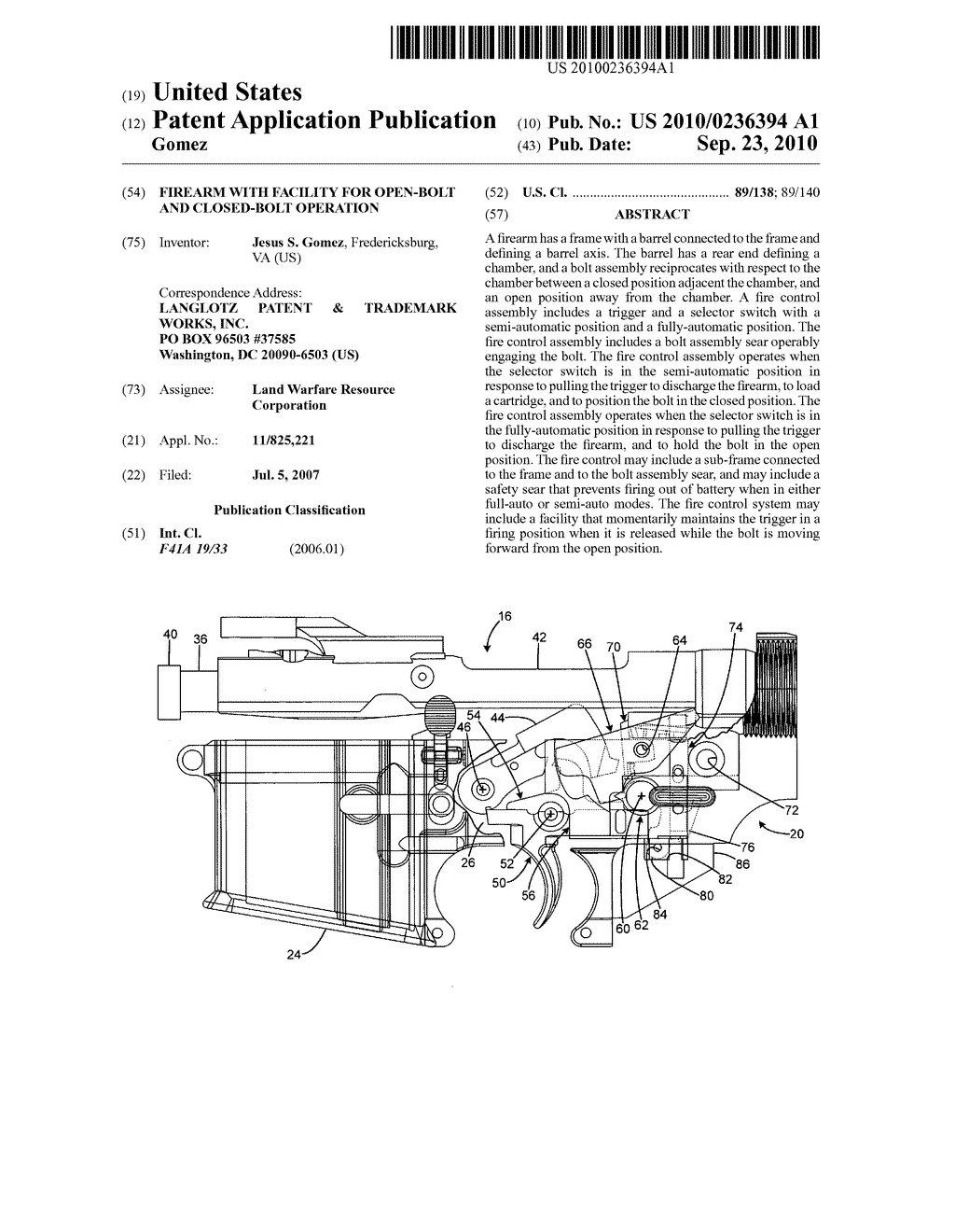 FIREARM WITH FACILITY FOR OPEN-BOLT AND CLOSED-BOLT