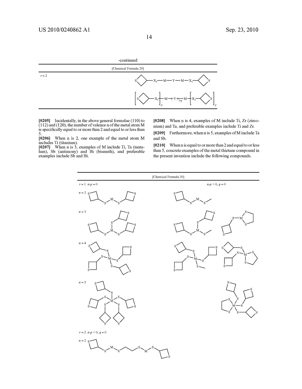 METAL THIETANE COMPOUND, POLYMERIZABLE COMPOSITION CONTAINING THE COMPOUND, RESIN AND USE OF THE RESIN - diagram, schematic, and image 15