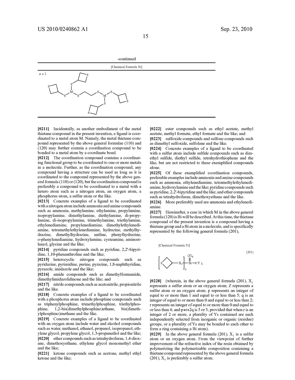 METAL THIETANE COMPOUND, POLYMERIZABLE COMPOSITION CONTAINING THE COMPOUND, RESIN AND USE OF THE RESIN - diagram, schematic, and image 16