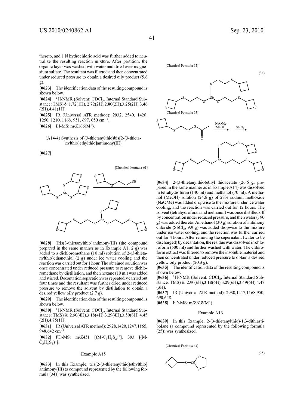 METAL THIETANE COMPOUND, POLYMERIZABLE COMPOSITION CONTAINING THE COMPOUND, RESIN AND USE OF THE RESIN - diagram, schematic, and image 42