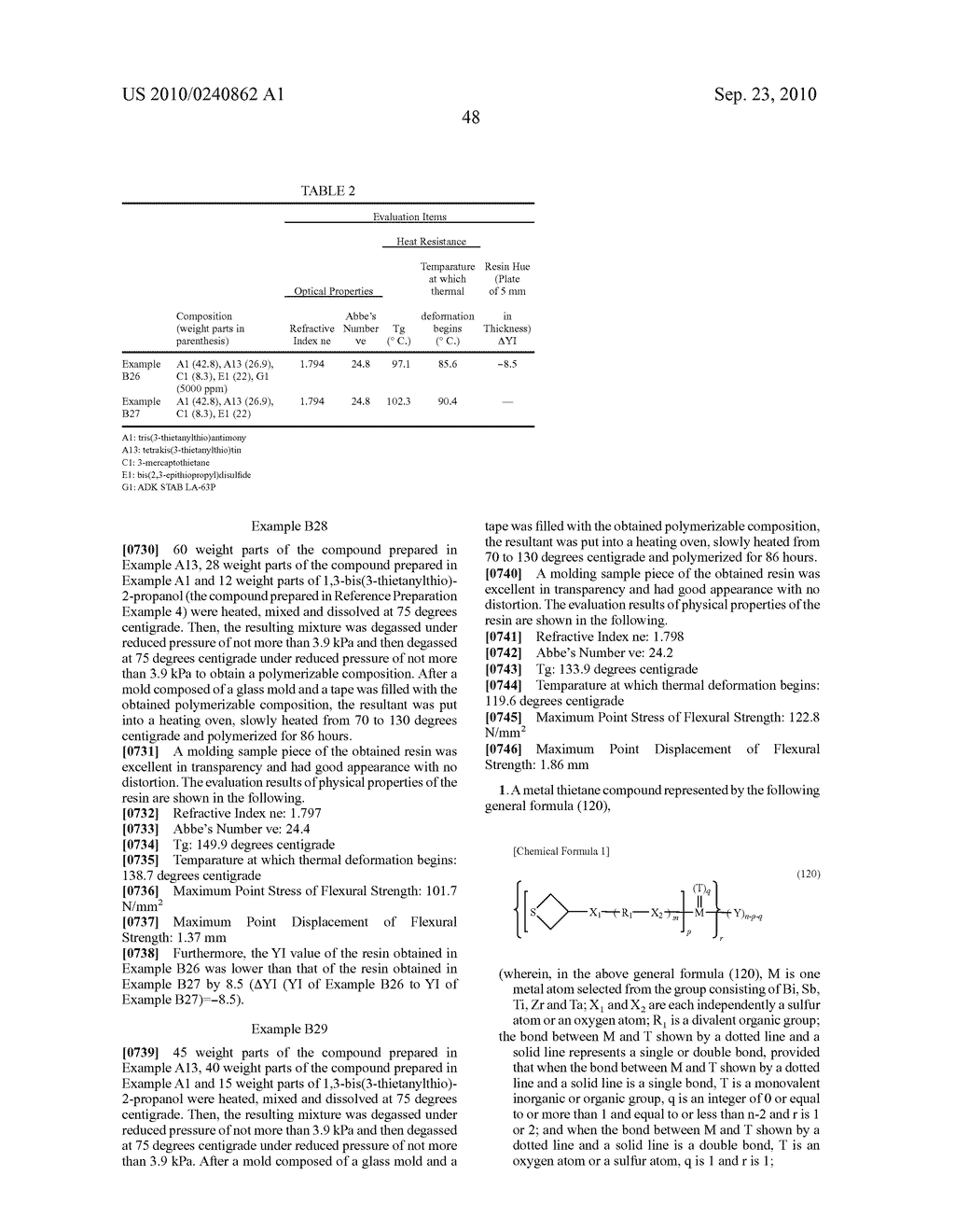 METAL THIETANE COMPOUND, POLYMERIZABLE COMPOSITION CONTAINING THE COMPOUND, RESIN AND USE OF THE RESIN - diagram, schematic, and image 49