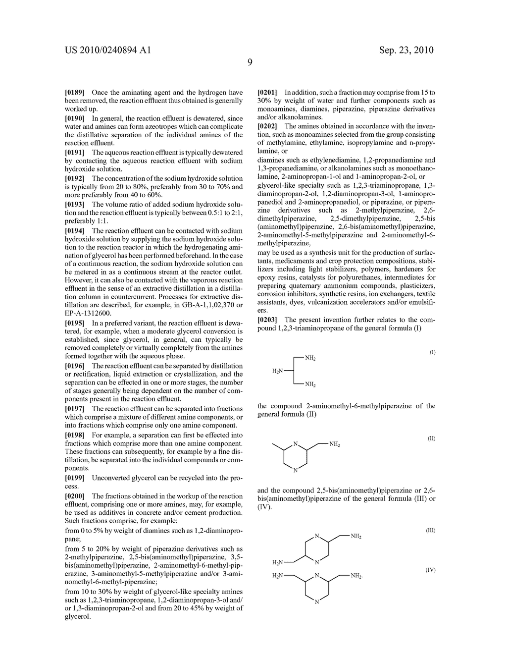 METHOD FOR PRODUCING AMINES FROM GLYCERIN - diagram, schematic, and image 10