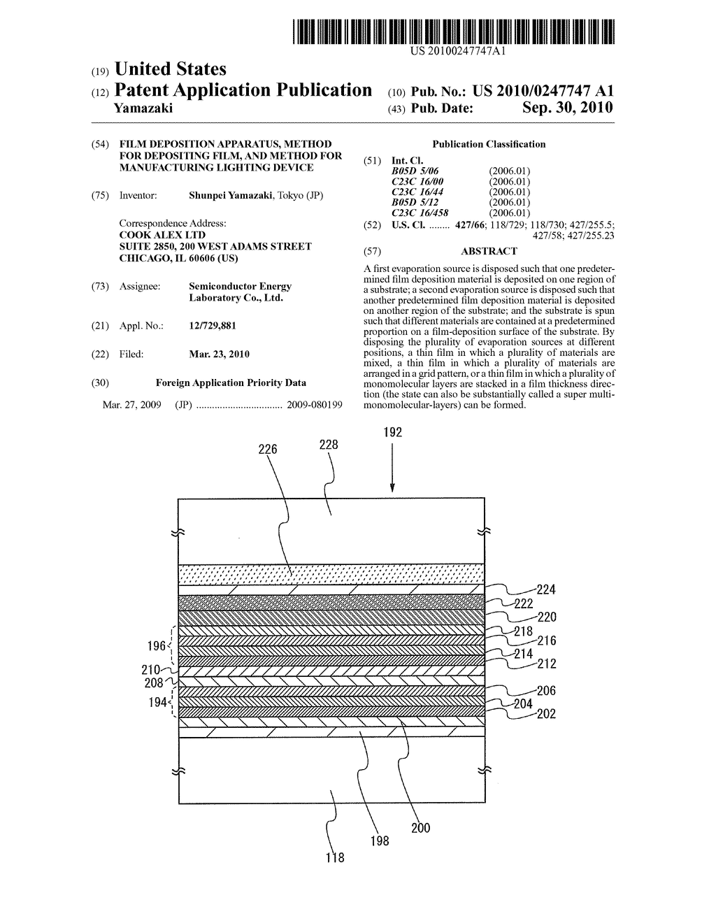 Film Deposition Apparatus, Method for Depositing Film, and Method for Manufacturing Lighting Device - diagram, schematic, and image 01