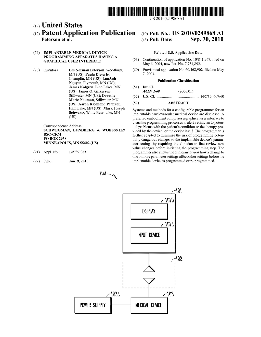 IMPLANTABLE MEDICAL DEVICE PROGRAMMING APPARATUS HAVING A GRAPHICAL USER INTERFACE - diagram, schematic, and image 01