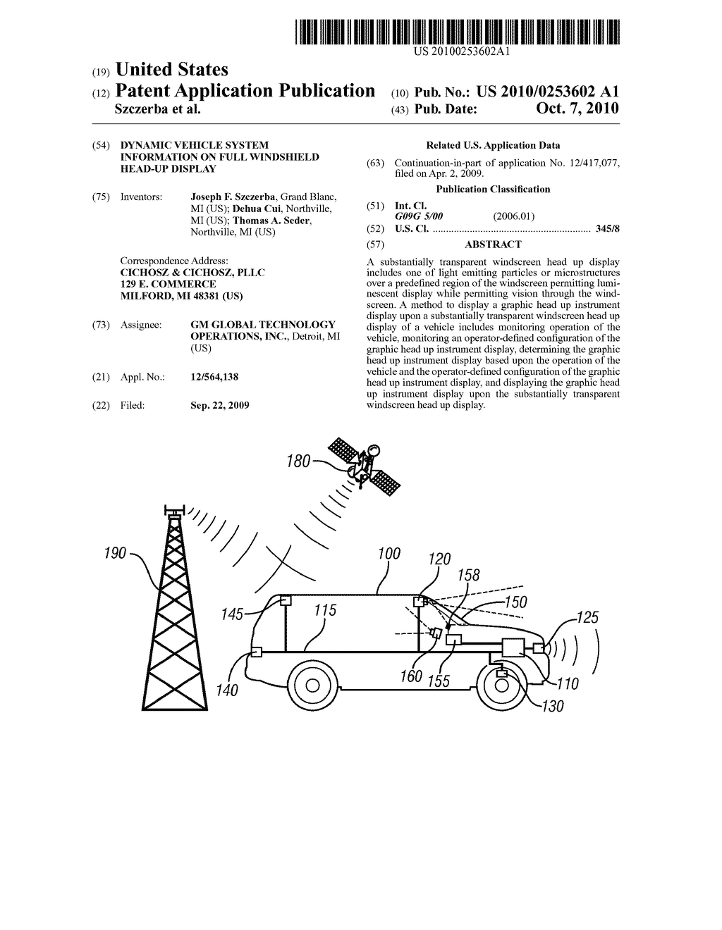 DYNAMIC VEHICLE SYSTEM INFORMATION ON FULL WINDSHIELD HEAD-UP DISPLAY - diagram, schematic, and image 01