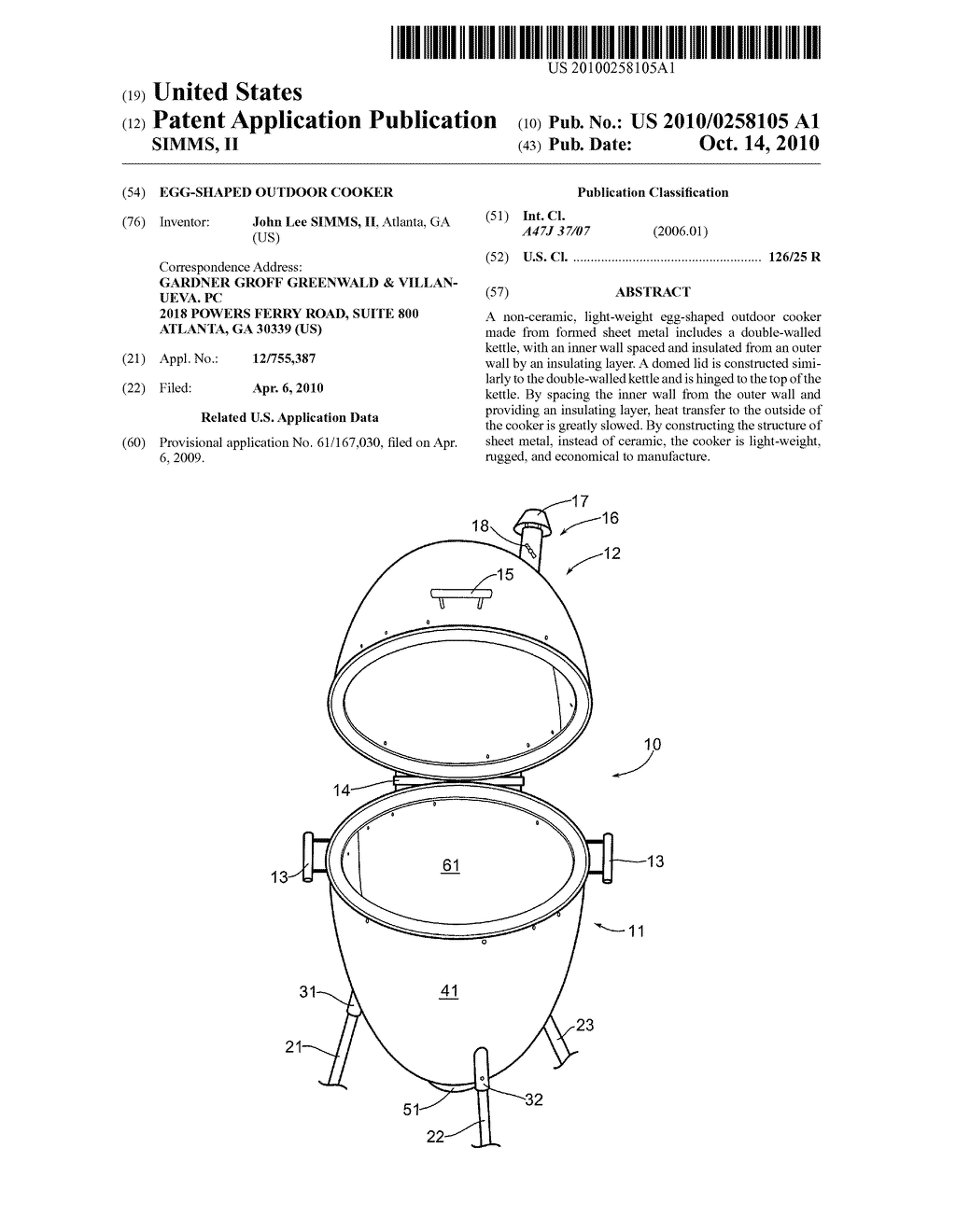 EGG-SHAPED OUTDOOR COOKER - diagram, schematic, and image 01