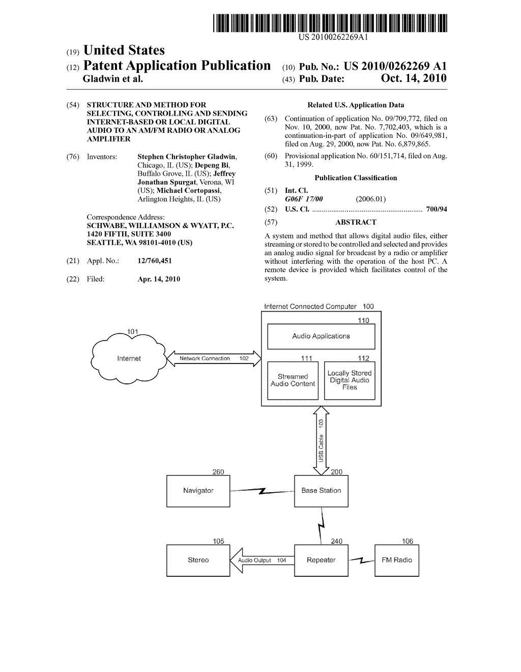 STRUCTURE AND METHOD FOR SELECTING, CONTROLLING AND SENDING INTERNET-BASED OR LOCAL DIGITAL AUDIO TO AN AM/FM RADIO OR ANALOG AMPLIFIER - diagram, schematic, and image 01