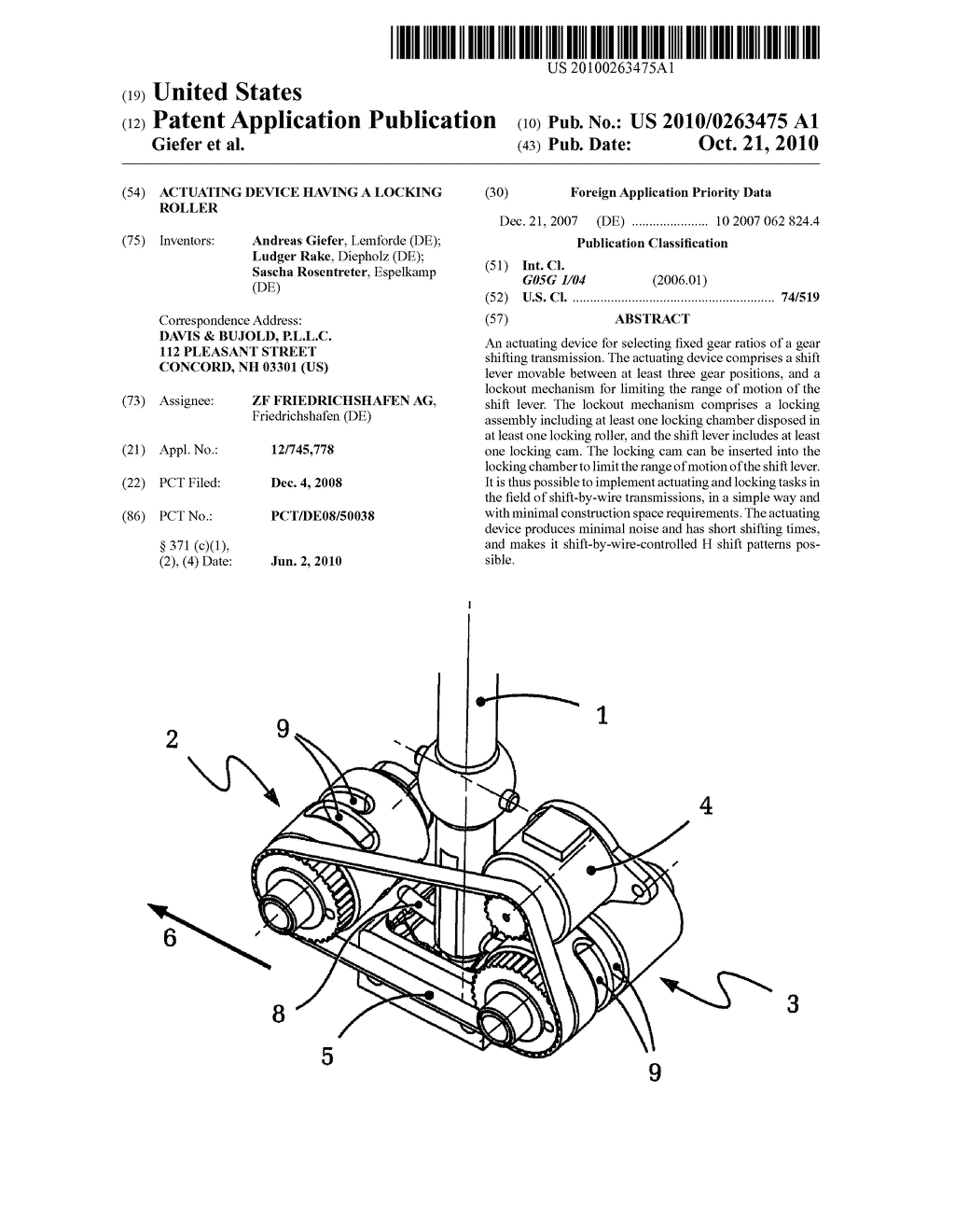 ACTUATING DEVICE HAVING A LOCKING ROLLER - diagram, schematic, and image 01