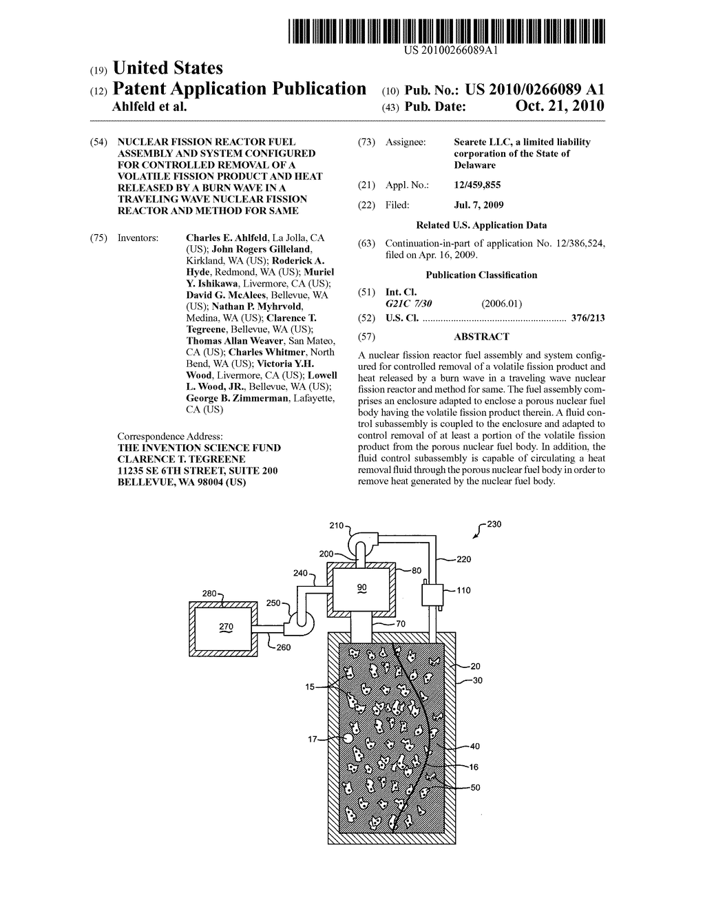 Nuclear fission reactor fuel assembly and system configured for controlled removal of a volatile fission product and heat released by a burn wave in a traveling wave nuclear fission reactor and method for same - diagram, schematic, and image 01