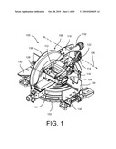 MITER SAW WITH CUTTING ALIGNMENT DEVICE ON A DUST CHUTE diagram and image