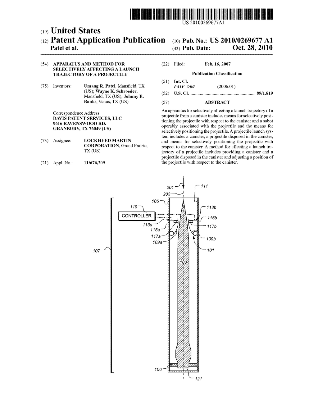Apparatus and Method for Selectively Affecting a Launch Trajectory of a Projectile - diagram, schematic, and image 01