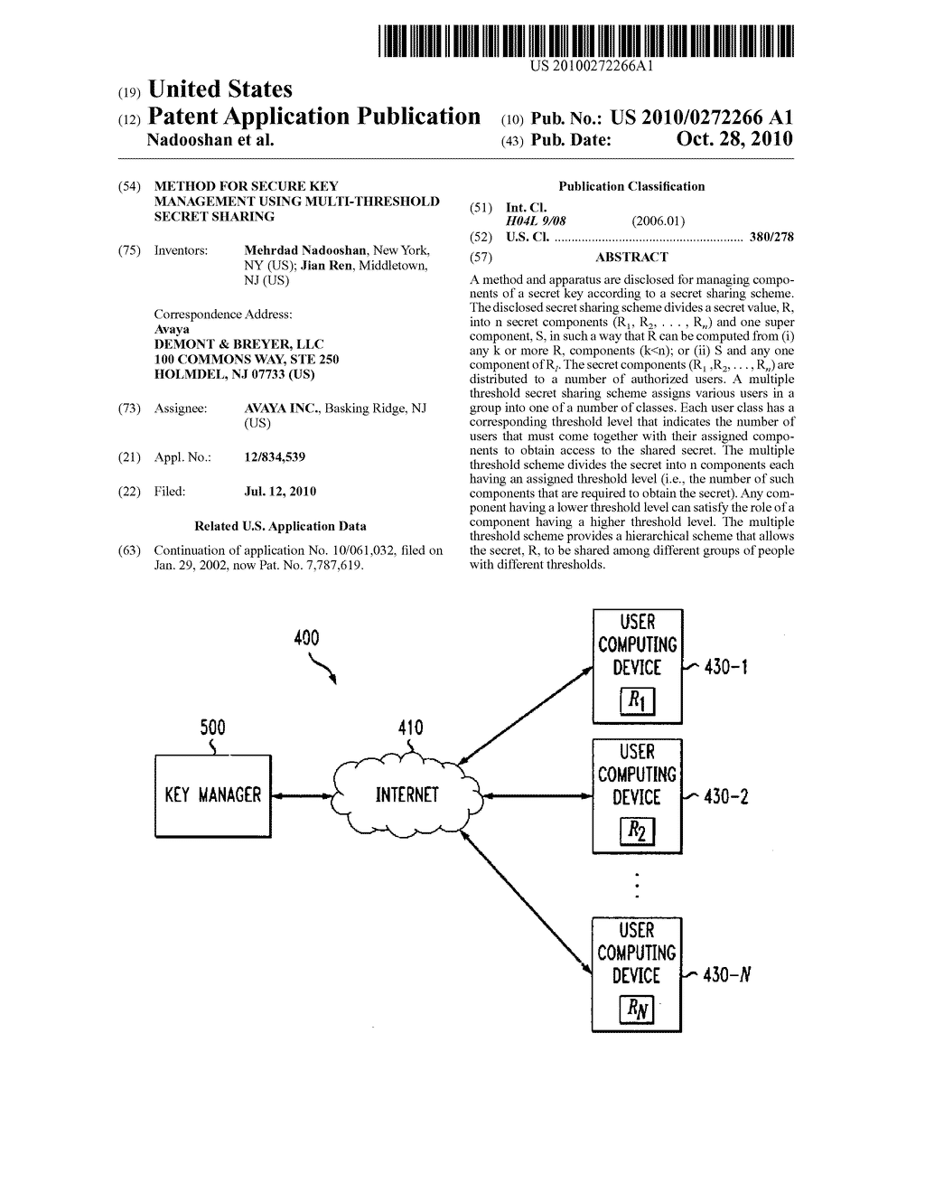 Method for secure key management using multi-threshold secret sharing - diagram, schematic, and image 01