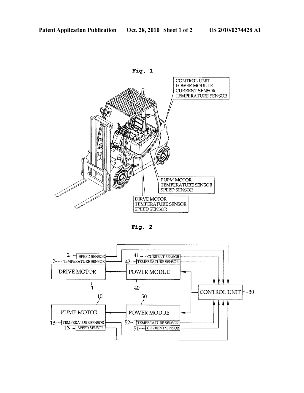 MOTOR CONTROL METHOD AND CONTROL DEVICE FOR ELECTRICAL FORKLIFT TRUCK -  diagram, schematic, and image 02