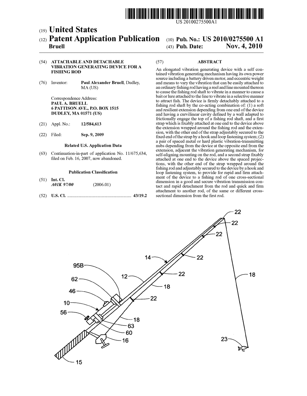 Attachable and detachable vibration generating device for a fishing rod - diagram, schematic, and image 01