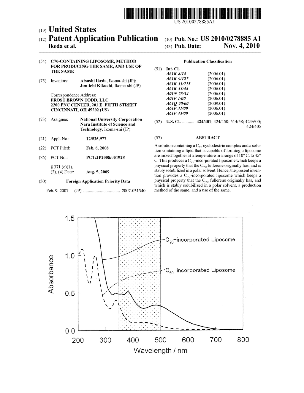 C70-Containing Liposome, Method for Producing the Same, and Use of the Same - diagram, schematic, and image 01