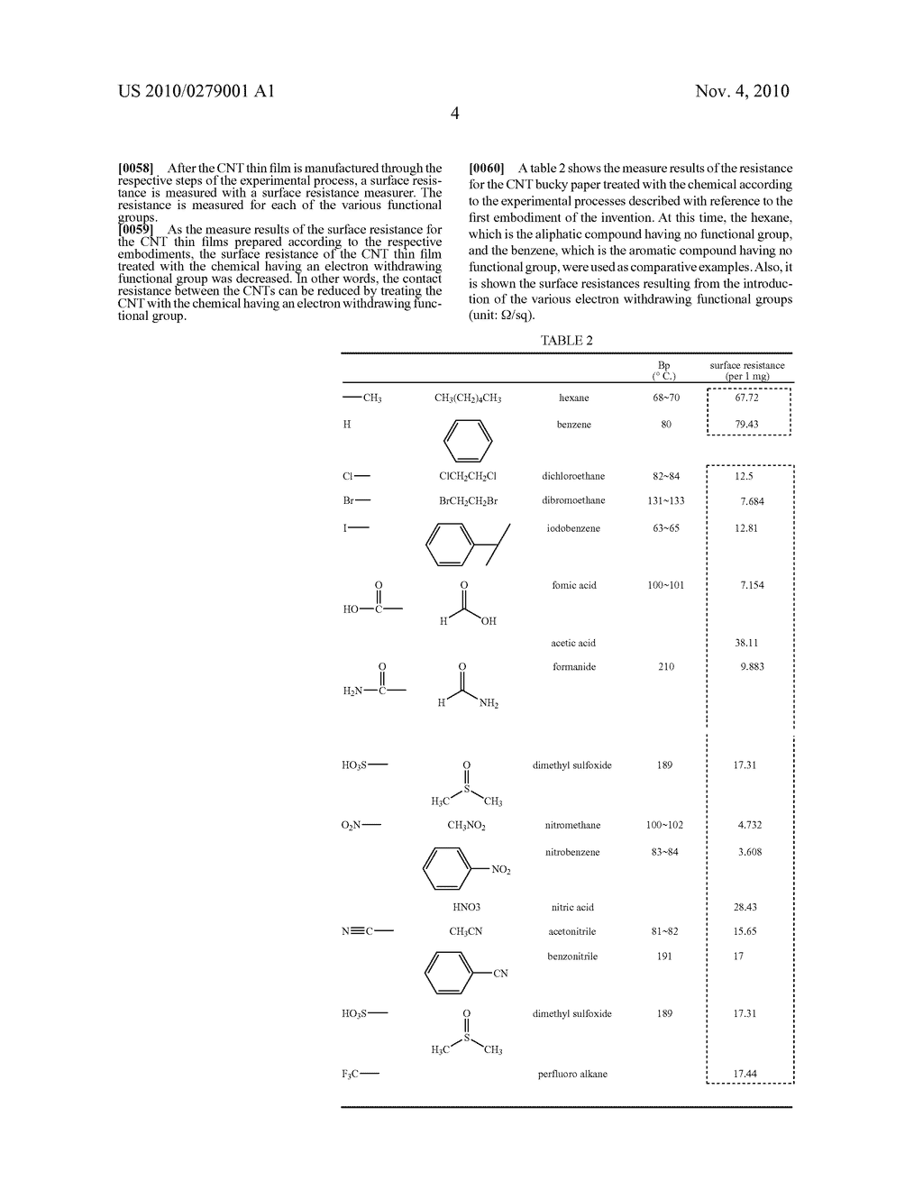 CARBON NANO-TUBE (CNT) THIN FILM TREATED WITH CHEMICAL HAVING ELECTRON WITHDRAWING FUNCTIONAL GROUP AND MANUFACTURING METHOD THEREOF - diagram, schematic, and image 13