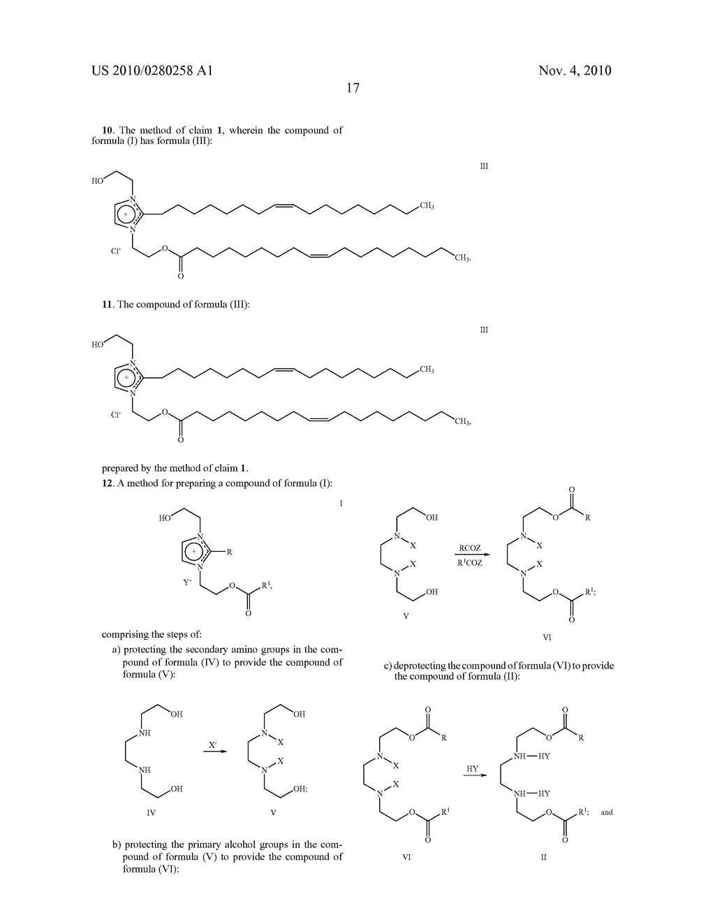 METHODS FOR THE PREPARATION OF AMPHILLIC NITROGEN CONTAINING IMIDAZOLINIUM DERIVATIVE COMPOUNDS - diagram, schematic, and image 18