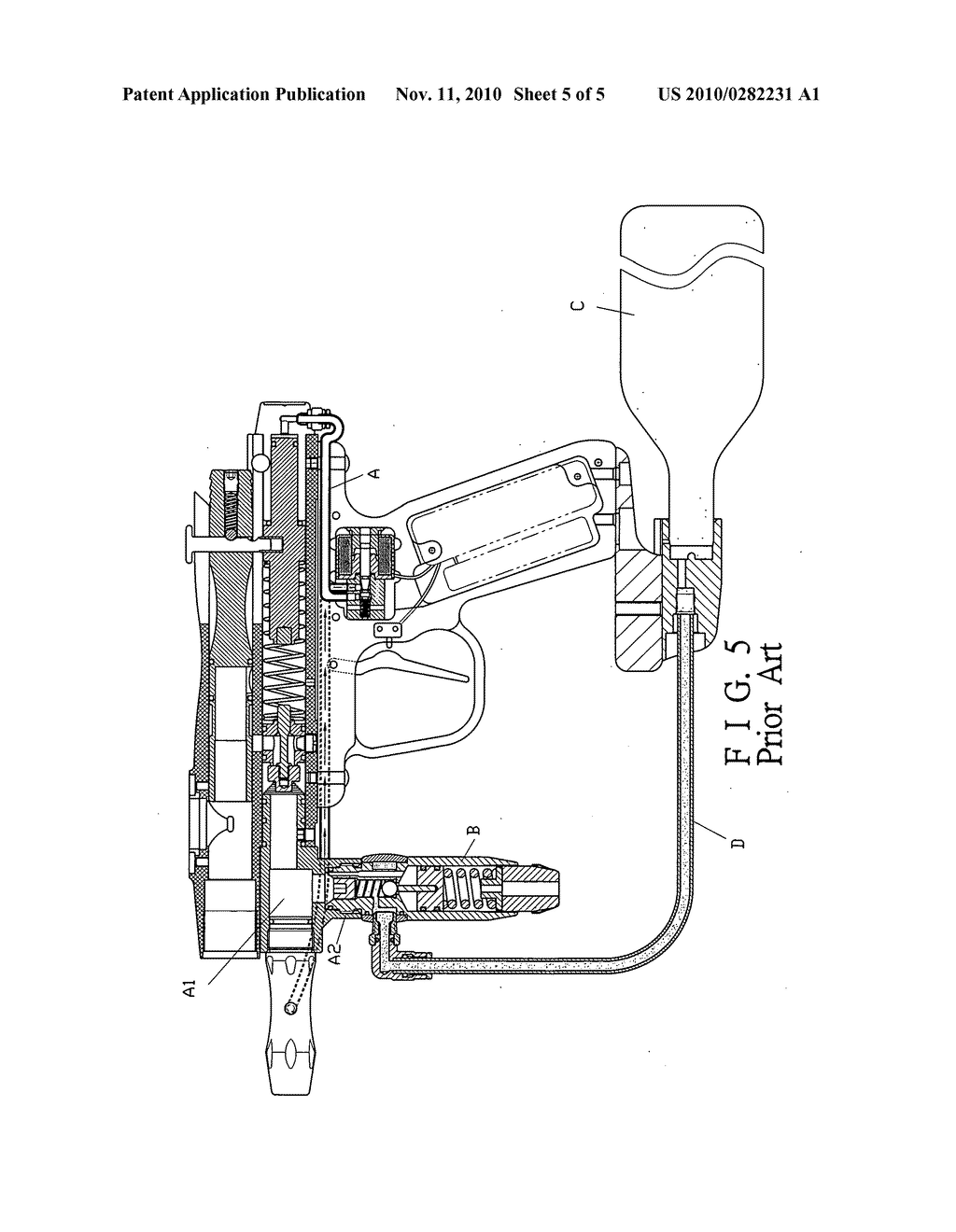 paintball gun having internal pressure regulator - diagram, schematic, and  image 06