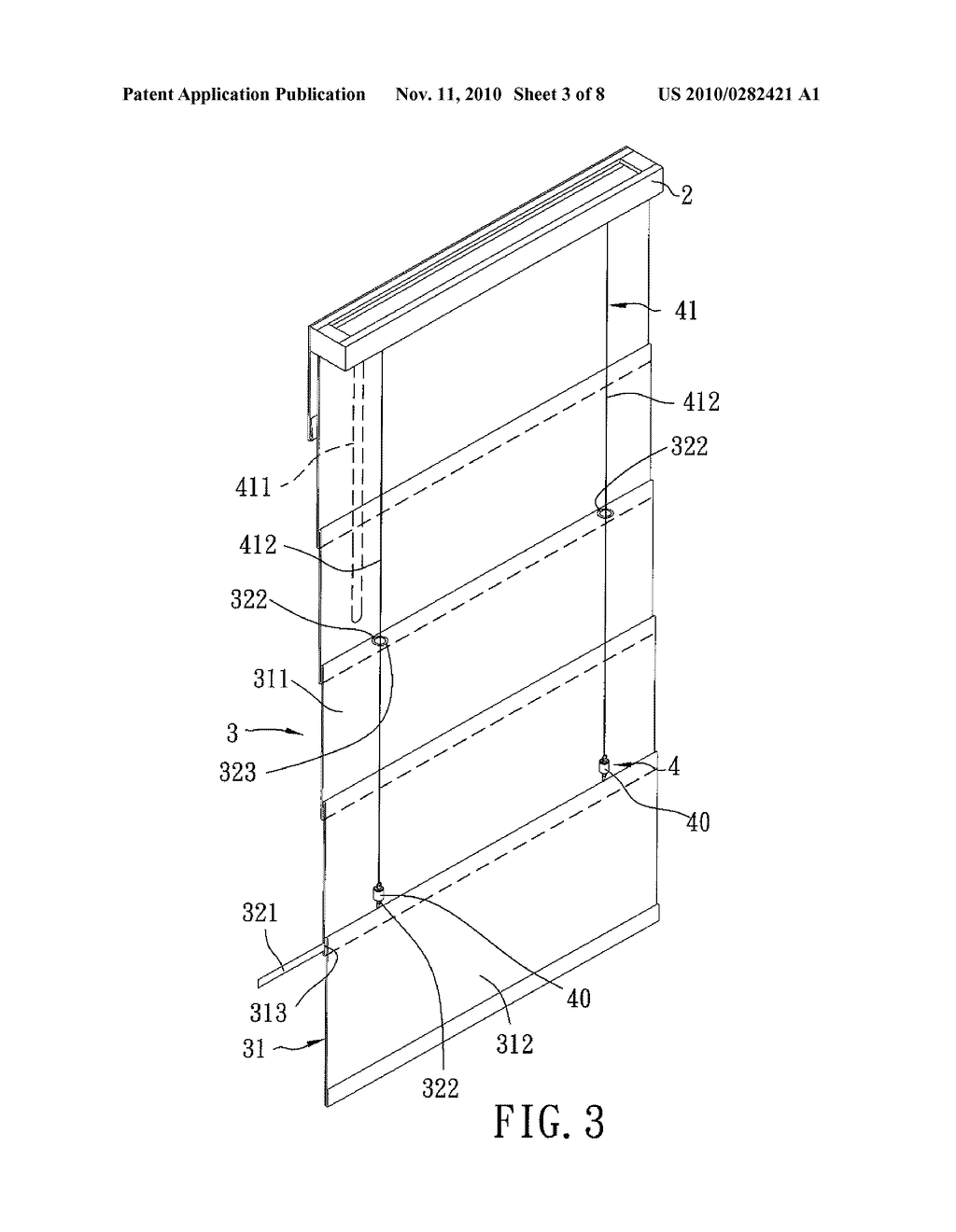 20100282421_04 window blind assembly with a releaseable curtain drawing mechanism