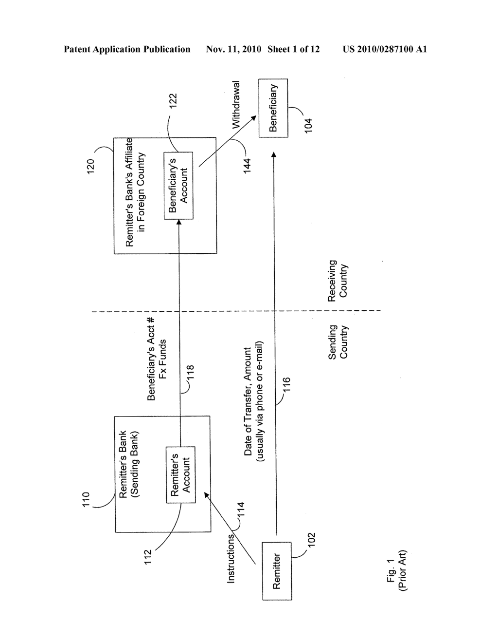 Method and System for Cash Remittances Using a Two Country Banking Structure - diagram, schematic, and image 02