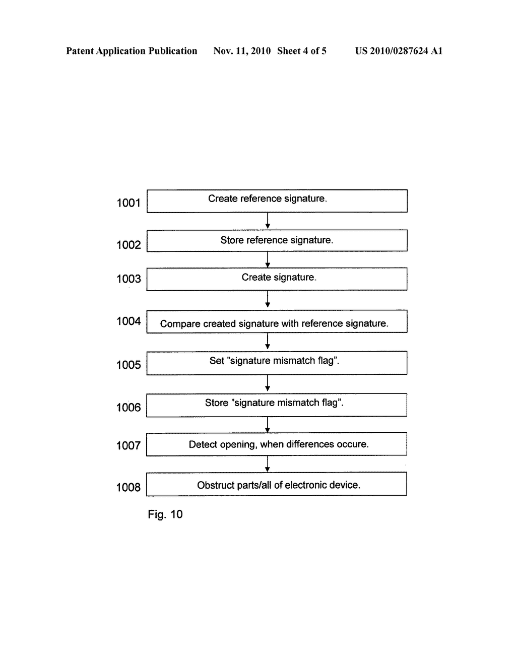 METHOD AND DEVICE FOR DETECTING THE OPENING OF A COVER ENCLOSING THE DEVICE - diagram, schematic, and image 05