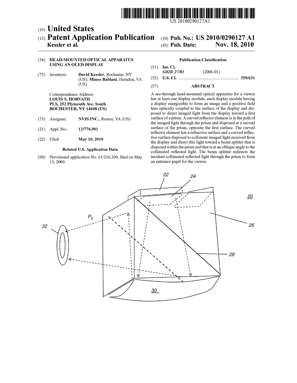 HEAD-MOUNTED OPTICAL APPARATUS USING AN OLED DISPLAY - diagram, schematic, and image 01