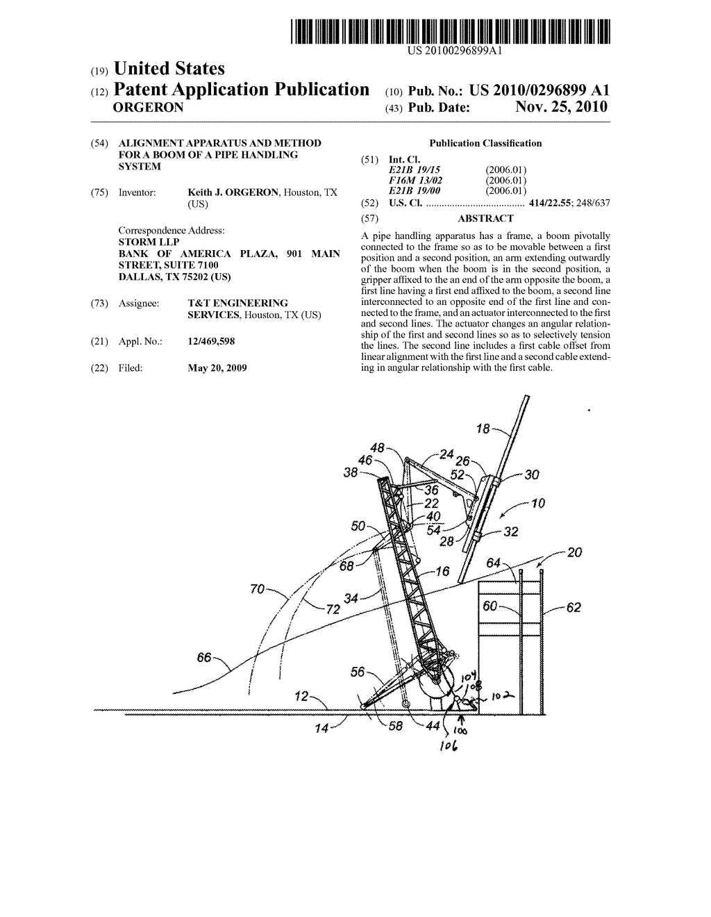 ALIGNMENT APPARATUS AND METHOD FOR A BOOM OF A PIPE HANDLING SYSTEM - diagram, schematic, and image 01