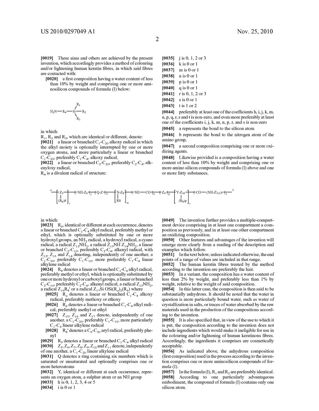 LIGHTENING AND/OR DYEING OF HUMAN KERATIN FIBRES BY MEANS OF A COMPOSITION COMPRISING A PARTICULAR AMINO SILICON COMPOUND AND COMPOSITION AND DEVICE - diagram, schematic, and image 03