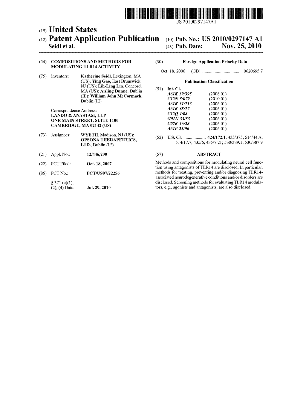 COMPOSITIONS AND METHODS FOR MODULATING TLR14 ACTIVITY - diagram, schematic, and image 01