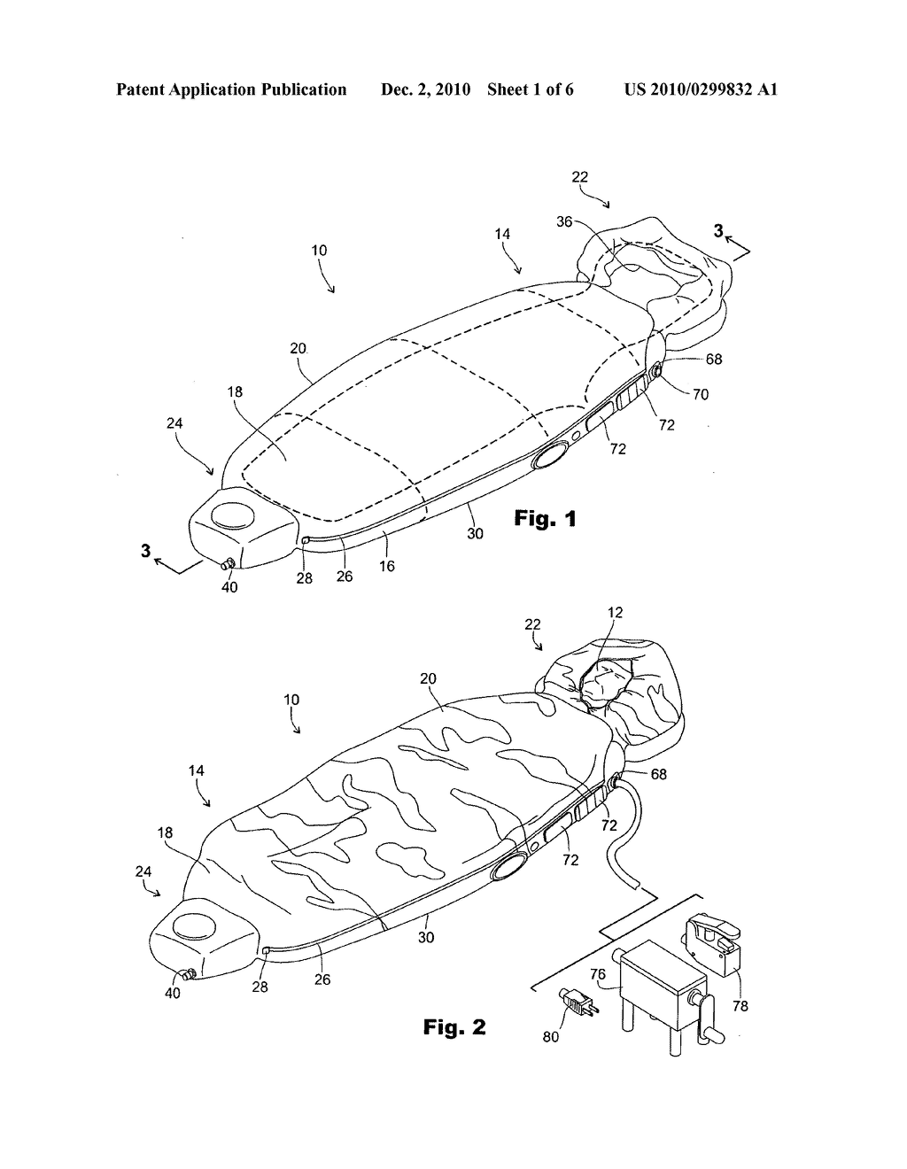 chiropractic sleeping bag with self contained inflatable air bladders -  diagram, schematic, and image 02