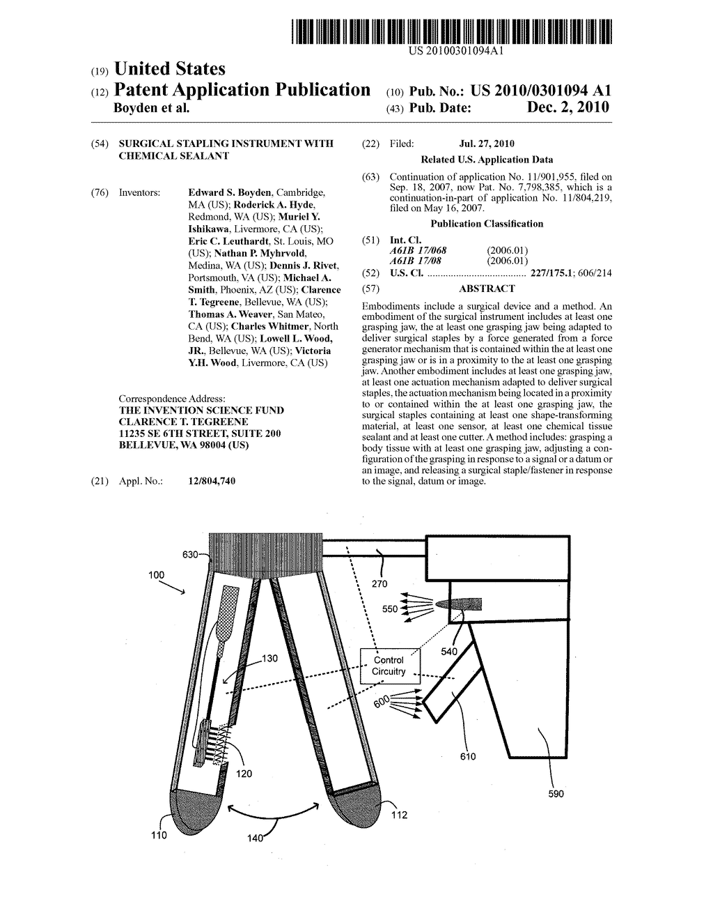 Surgical stapling instrument with chemical sealant - diagram, schematic, and image 01