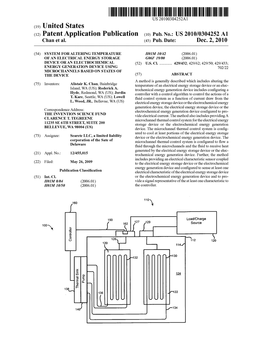 System for altering temperature of an electrical energy storage device or an electrochemical energy generation device using microchannels based on states of the device - diagram, schematic, and image 01
