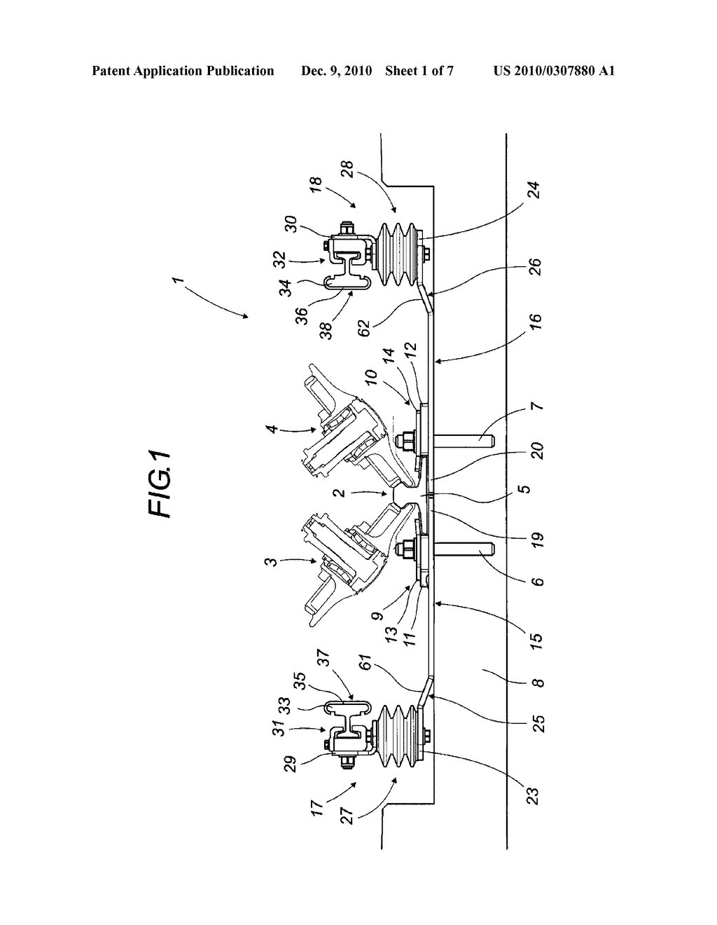 REPEATING LATERAL TRANSVERSE SUPPORT FOR AT LEAST ONE LATERAL ELECTRIC POWER SUPPLY PROFILE AND FOR THE GUIDE RAIL OF AN ELECTRICALLY POWERED GUIDED ROAD VEHICLE - diagram, schematic, and image 02