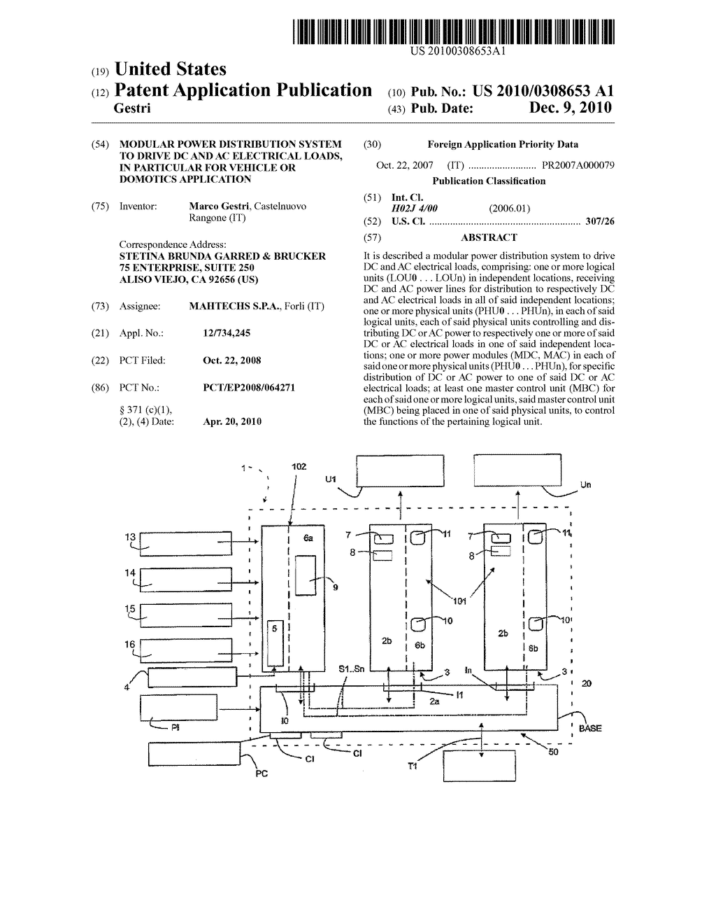 Modular Power Distribution System To Drive Dc And Ac Electrical Electric Schematic Diagram Loads In Particular For Vehicle Or Domotics Application Image 01