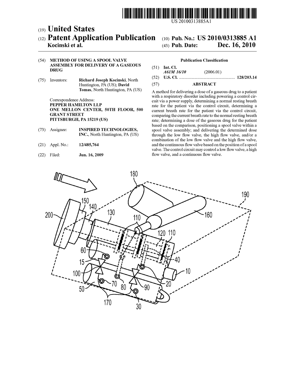 METHOD OF USING A SPOOL VALVE ASSEMBLY FOR DELIVERY OF A GASEOUS DRUG - diagram, schematic, and image 01