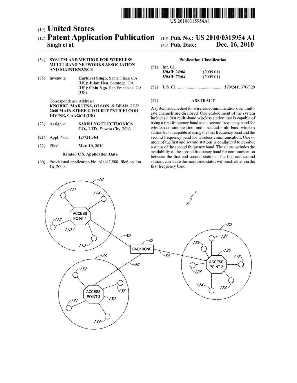 SYSTEM AND METHOD FOR WIRELESS MULTI-BAND NETWORKS ASSOCIATION AND MAINTENANCE - diagram, schematic, and image 01