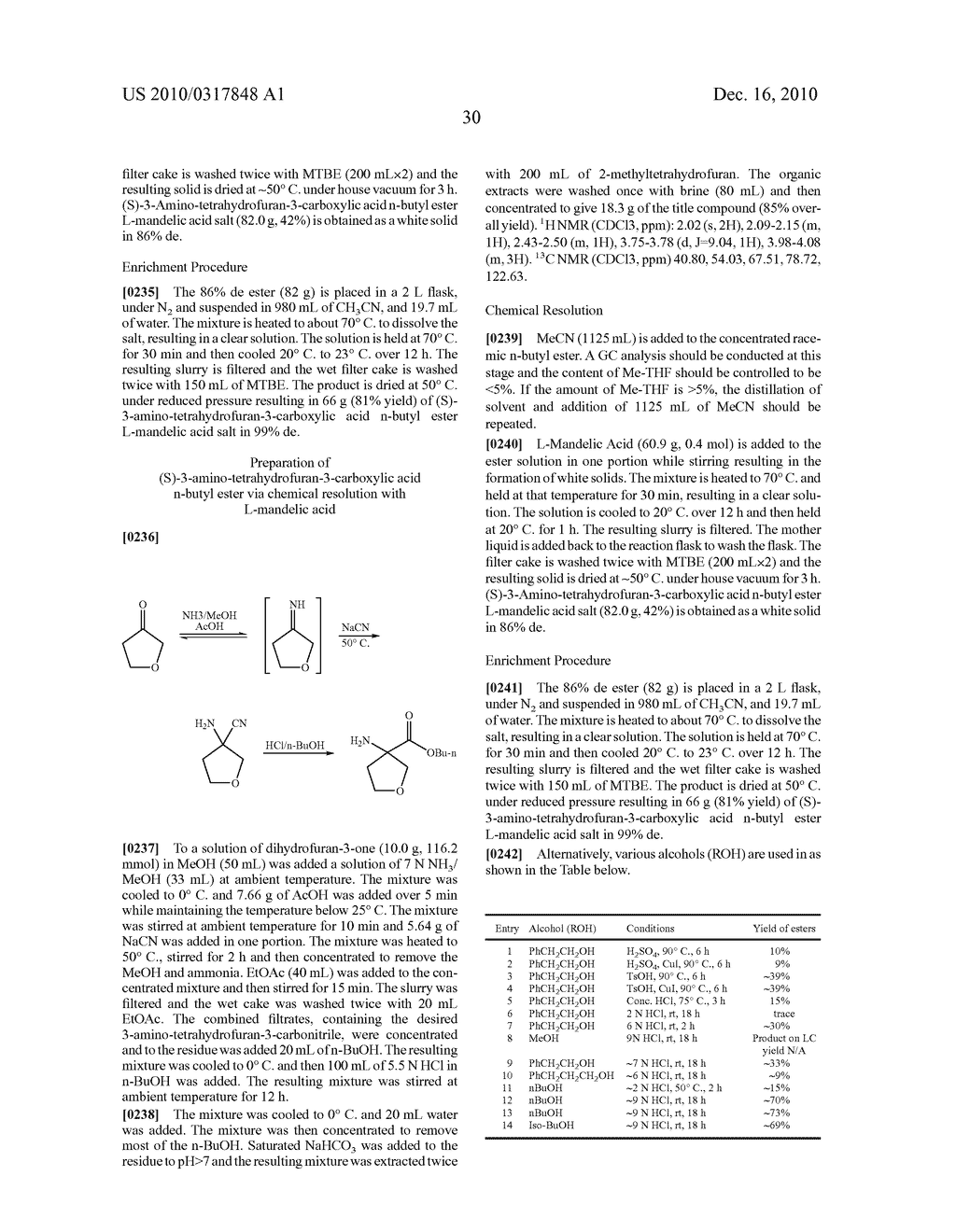 PROCESS FOR THE SYNTHESIS OF DERIVATIVES OF 3-AMINO-TETRAHYDROFURAN-3-CARBOXYLIC ACID AND USE THEREOF AS MEDICAMENTS - diagram, schematic, and image 35