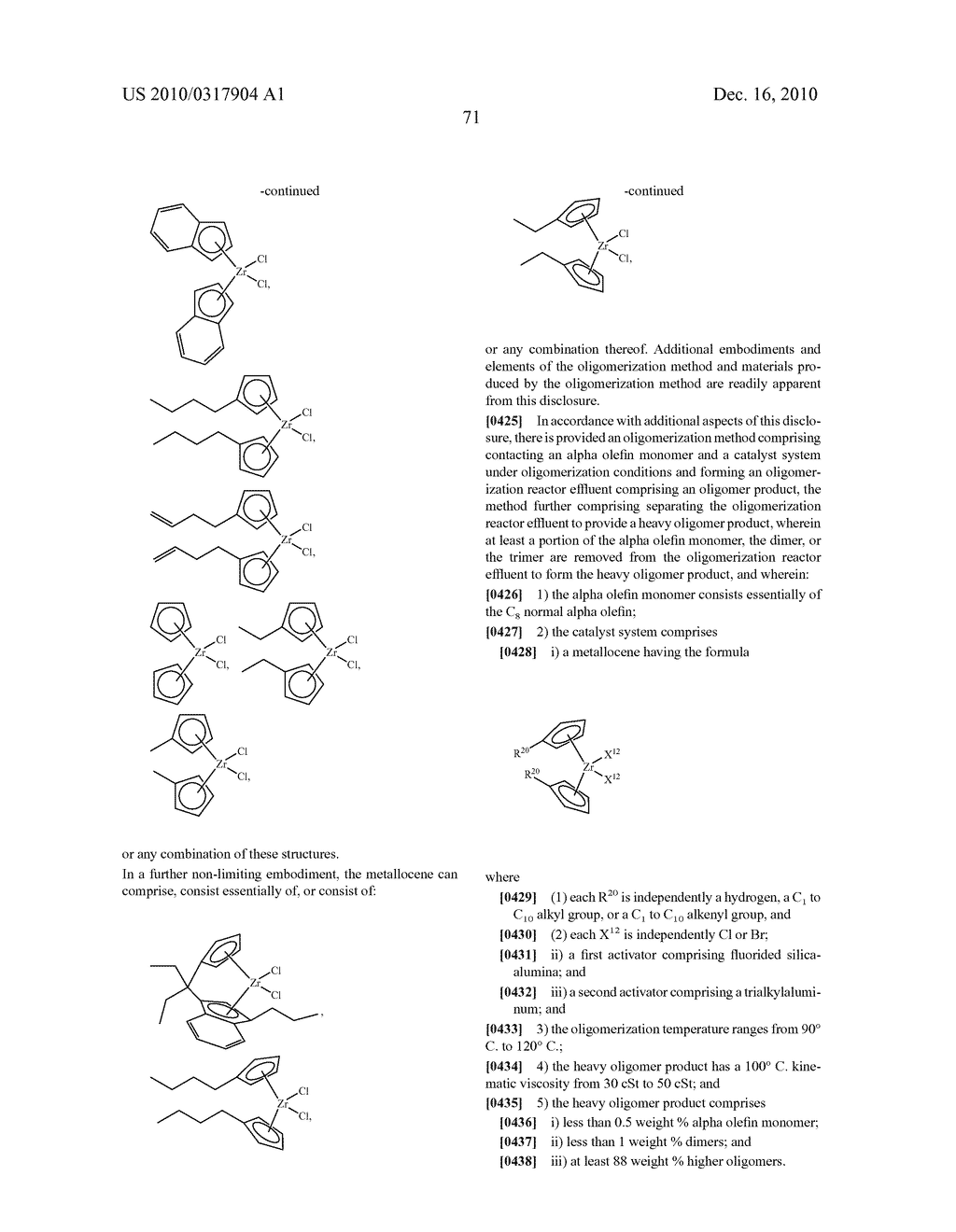 OLIGOMERIZATION OF ALPHA OLEFINS USING METALLOCENE-SSA CATALYST SYSTEMS AND USE OF THE RESULTANT POLYALPHAOLEFINS TO PREPARE LUBRICANT BLENDS - diagram, schematic, and image 83