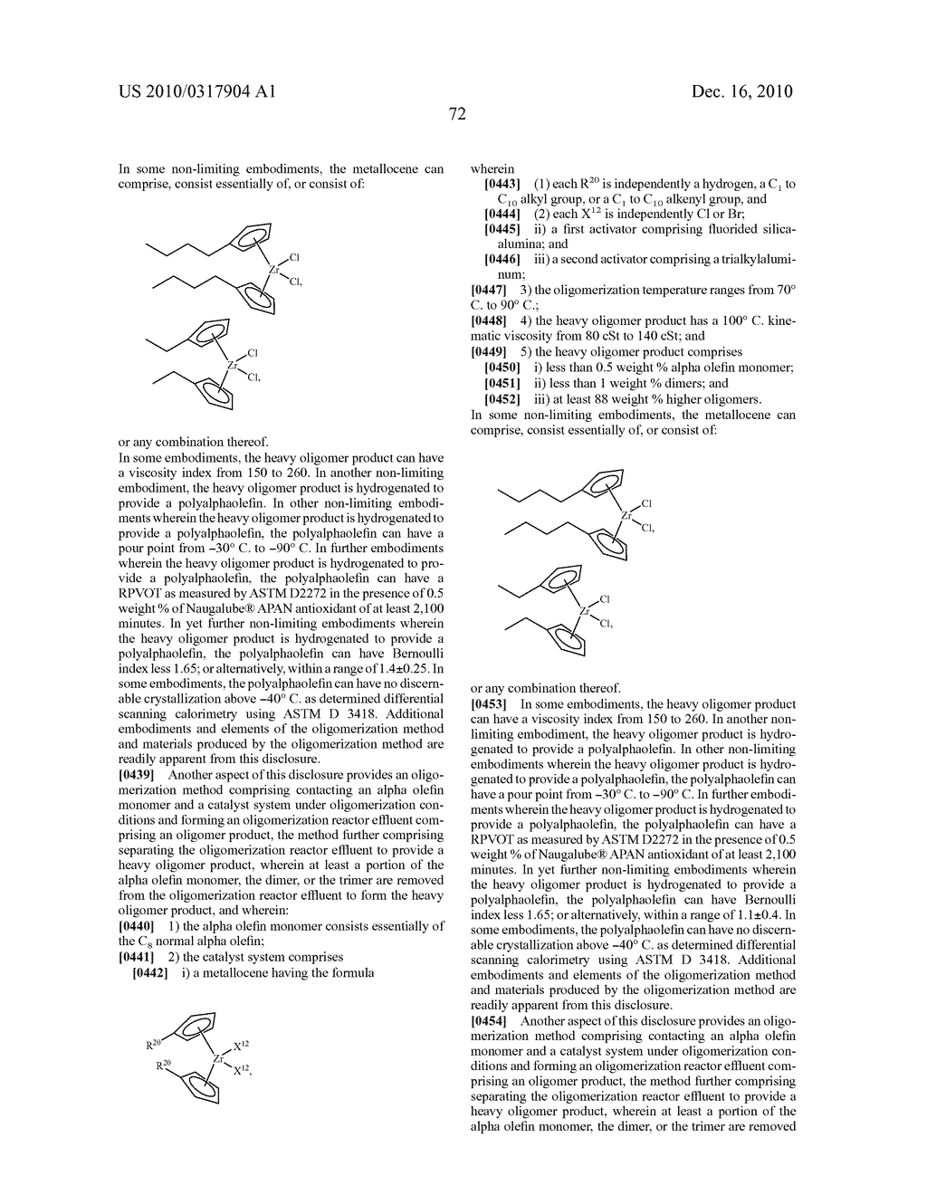 OLIGOMERIZATION OF ALPHA OLEFINS USING METALLOCENE-SSA CATALYST SYSTEMS AND USE OF THE RESULTANT POLYALPHAOLEFINS TO PREPARE LUBRICANT BLENDS - diagram, schematic, and image 84